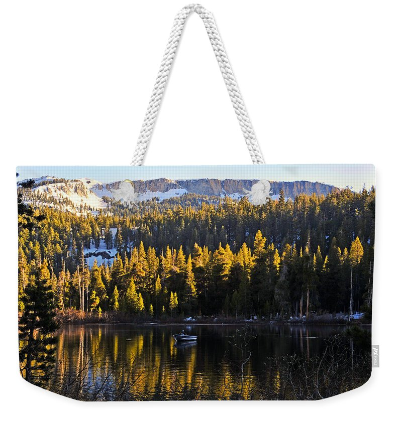 Trolling Weekender Tote Bag featuring the photograph Trolling On Twin Lakes by Lynn Bauer