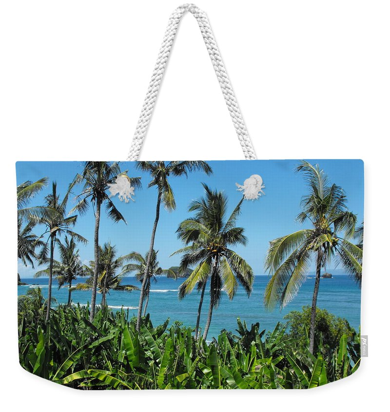 Palm Trees Weekender Tote Bag featuring the photograph Tropical Delight by Marlene Challis