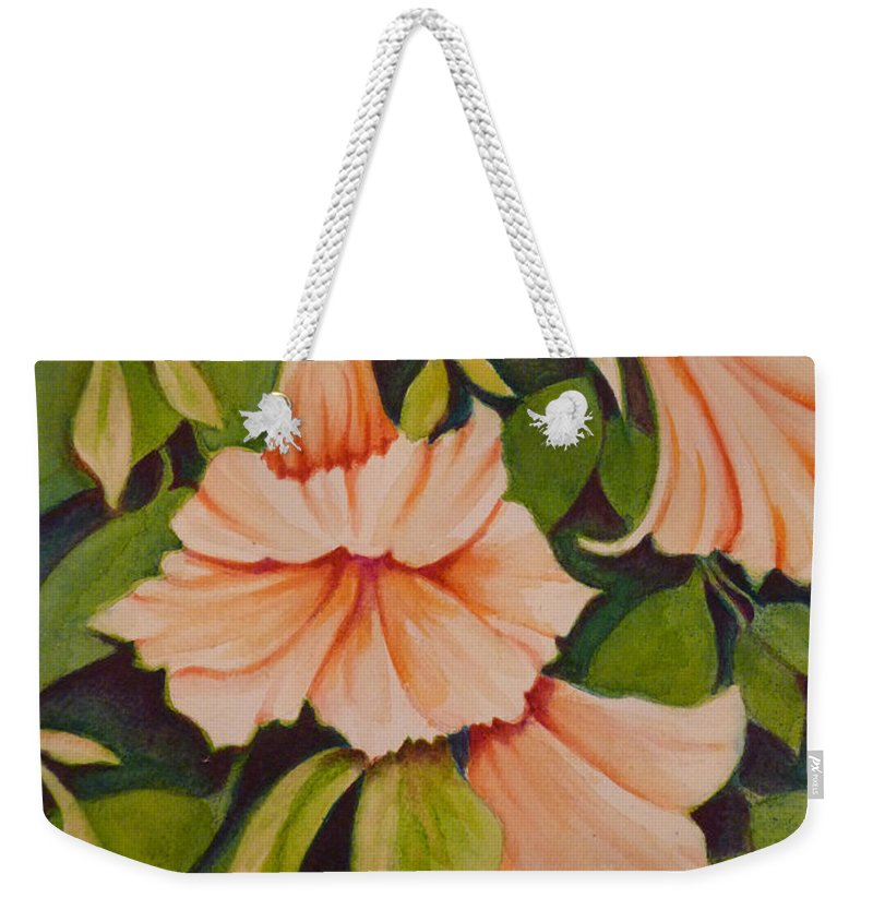 Trumpet Weekender Tote Bag featuring the painting Trumpet Flowers by Carla Parris