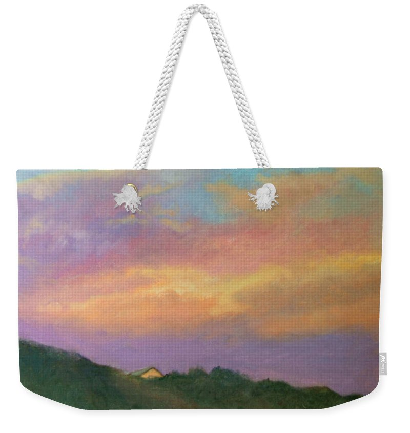 Landscape Weekender Tote Bag featuring the painting Truro Sunset by Phyllis Tarlow