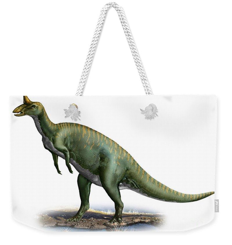 Horizontal Weekender Tote Bag featuring the digital art Tsintaosaurus Spinorhinus by Sergey Krasovskiy