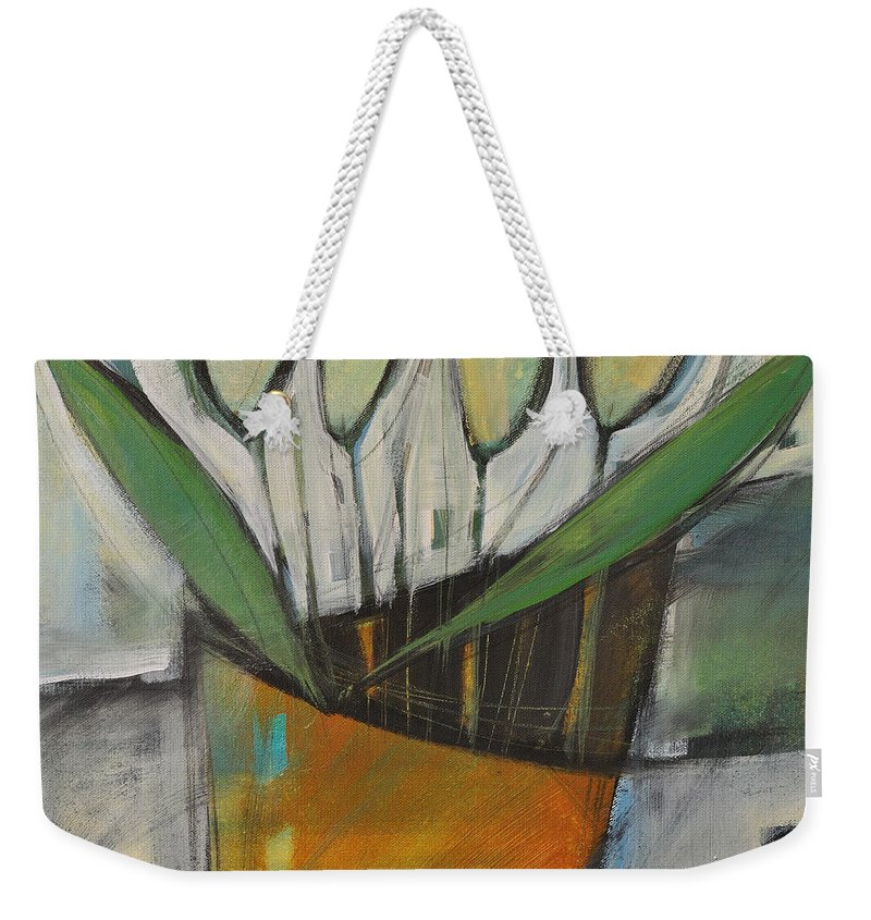 Tulips Weekender Tote Bag featuring the painting Tulips In Terracotta by Tim Nyberg