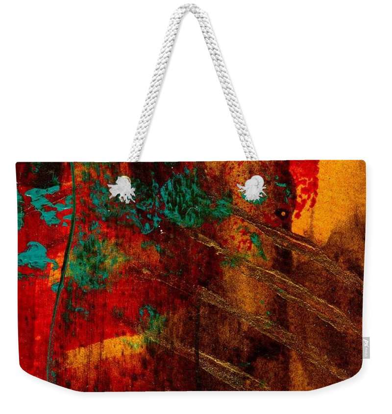 Acrylic Weekender Tote Bag featuring the painting Turquoise Mountains by Angela L Walker