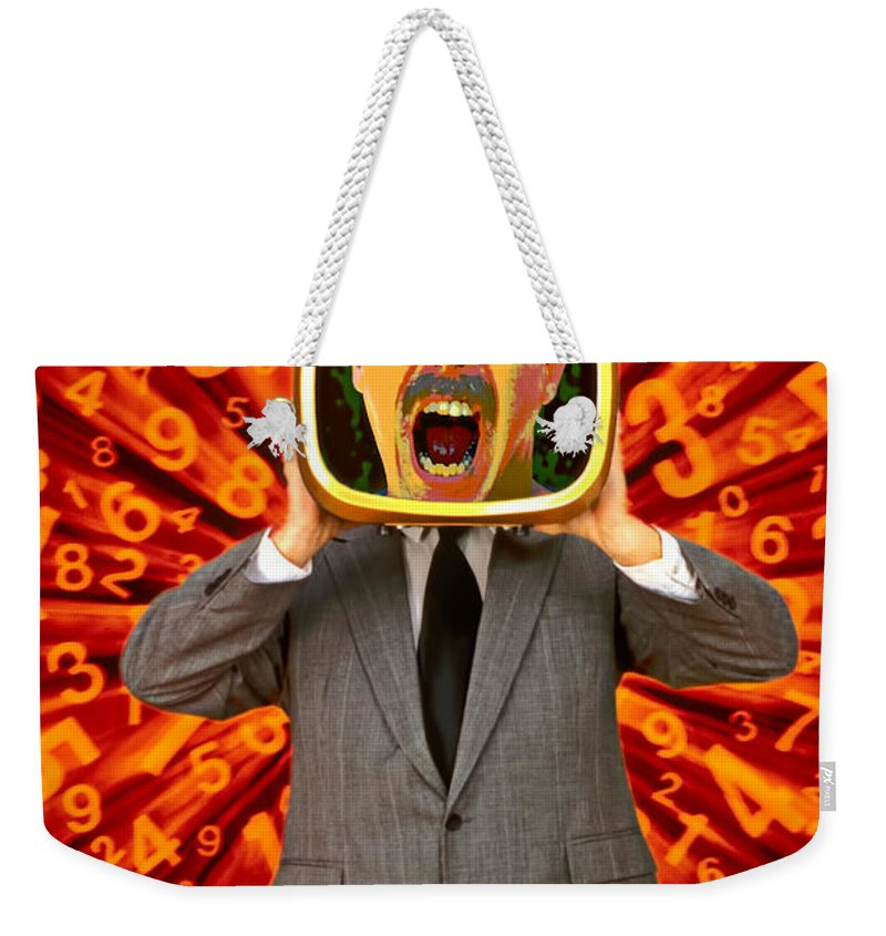 Angry Weekender Tote Bag featuring the photograph Tv Man by Garry Gay