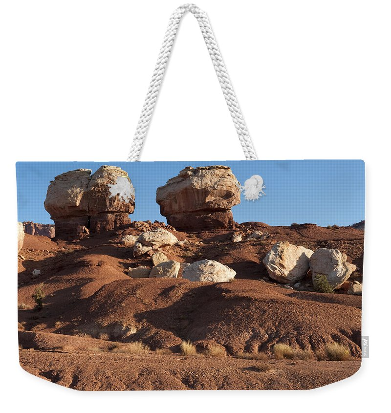 Capitol Reef Weekender Tote Bag featuring the photograph Twin Rocks Capitol Reef Np by Sandra Bronstein