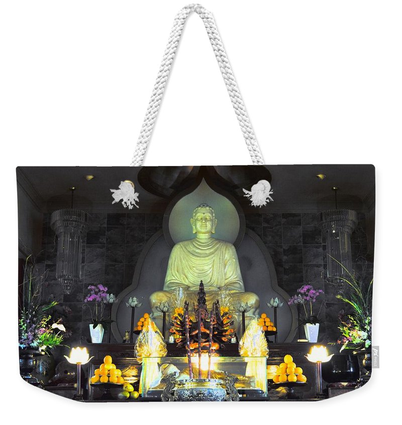 Buddha Weekender Tote Bag featuring the photograph Twisted Buddha by David Morefield