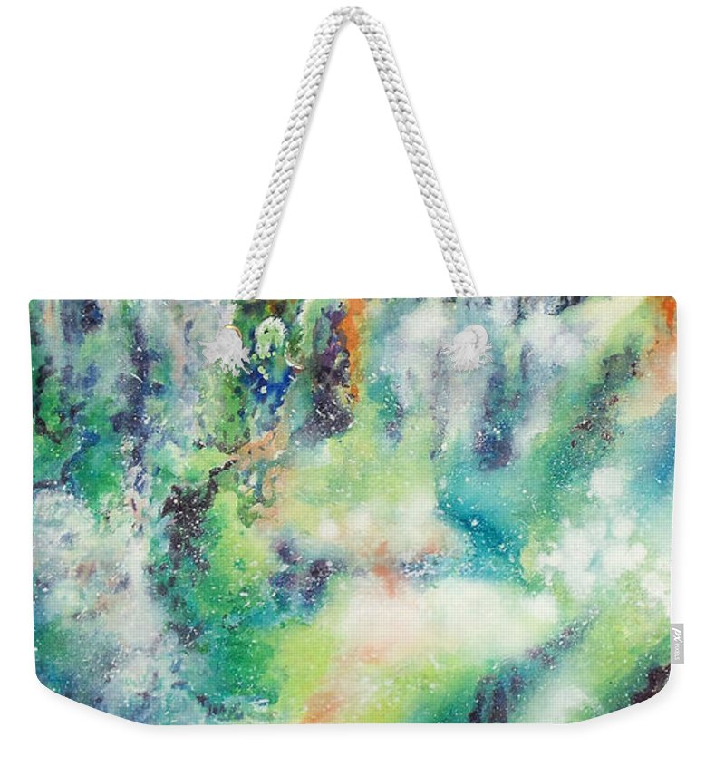 Paintings Weekender Tote Bag featuring the painting Two Bridges And A Falls 2     by Kathy Braud