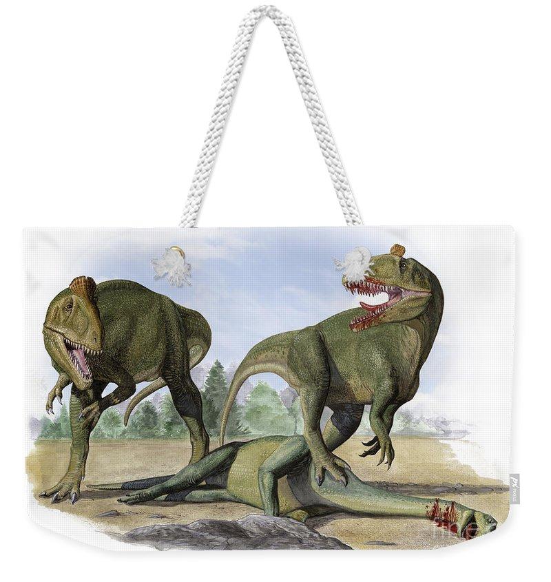 Horizontal Weekender Tote Bag featuring the digital art Two Cryolophosaurus Ellioti Dinosaurs by Sergey Krasovskiy