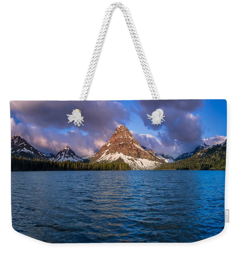 Two Medicine Lake Weekender Tote Bag featuring the photograph Two Medicine Morning Panorama by Greg Nyquist