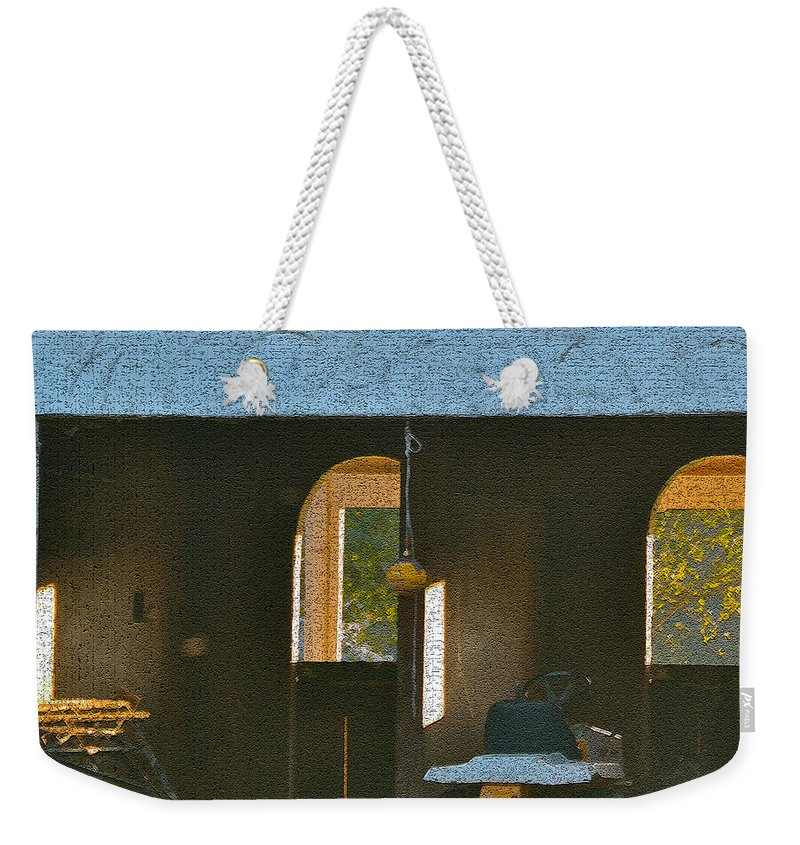Digital Photos Weekender Tote Bag featuring the photograph Two Tractor Garage by Bill Owen