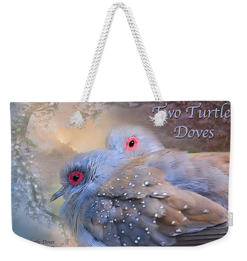 Turtle Doves Weekender Tote Bag featuring the mixed media Two Turtle Doves Card by Carol Cavalaris
