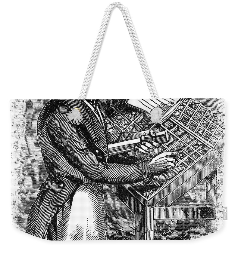 19th Century Weekender Tote Bag featuring the photograph Typesetter, 19th Century by Granger