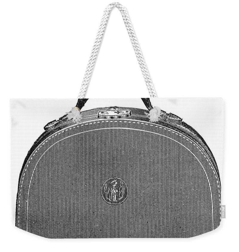 1889 Weekender Tote Bag featuring the photograph Typewriter Case, 1889 by Granger