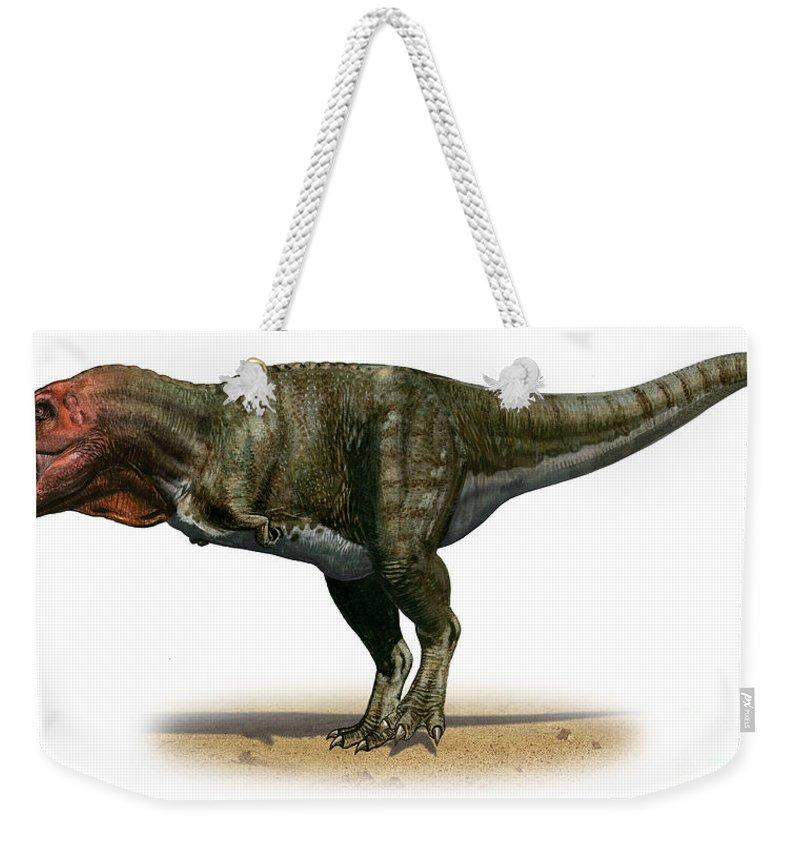 Horizontal Weekender Tote Bag featuring the digital art Tyrannosaurus Rex, A Prehistoric Era by Sergey Krasovskiy