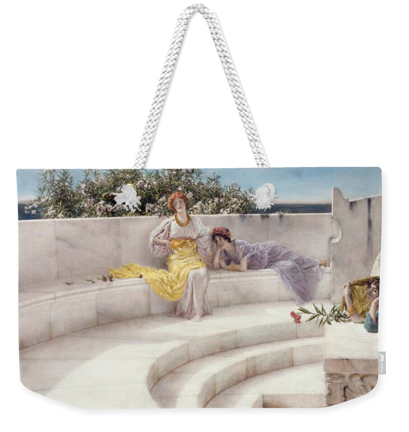 Under Weekender Tote Bag featuring the painting Under The Roof Of Blue Ionian Weather by Sir Lawrence Alma-Tadema