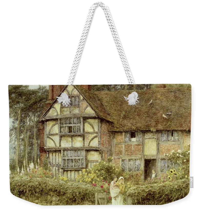 Cottage; Mother And Child; Gate; Rural Scene; Country; Countryside; Home; Path; Garden; Wildflowers; Roses; Picturesque; Idyllic; Daughter; Timber Frame; Half-timbered; Sunflowers; House; Female Weekender Tote Bag featuring the painting Unstead Farm Godalming by Helen Allingham