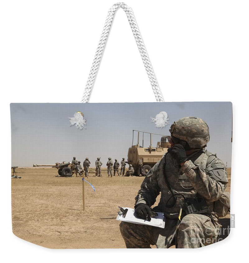 Operation Iraqi Freedom Weekender Tote Bag featuring the photograph U.s. Army Radio Operator Communicates by Stocktrek Images