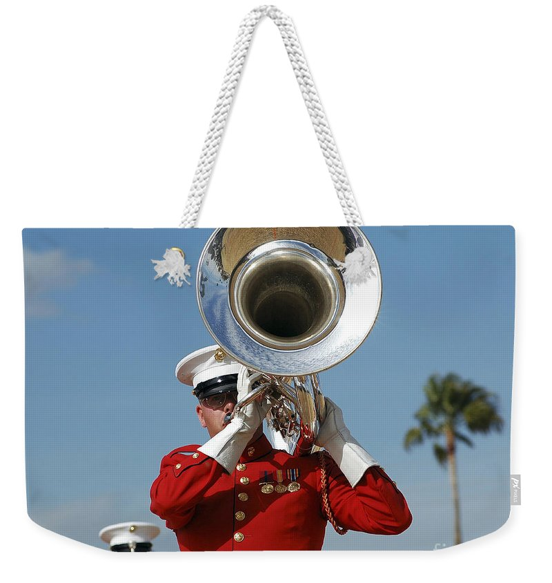 Hat Weekender Tote Bag featuring the photograph U.s. Marine Corps Drum And Bugle Corps by Stocktrek Images