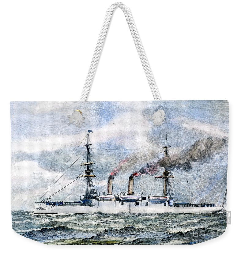 1890 Weekender Tote Bag featuring the photograph Uss Boston, 1890 by Granger