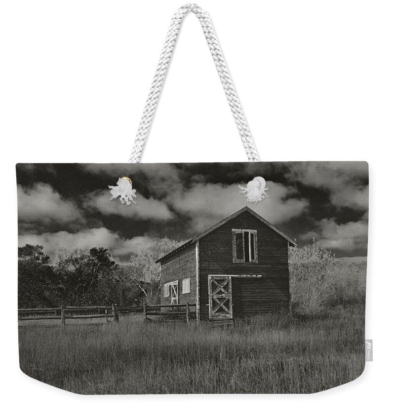 Utah Weekender Tote Bag featuring the photograph Utah Barn In Black And White by Joshua House