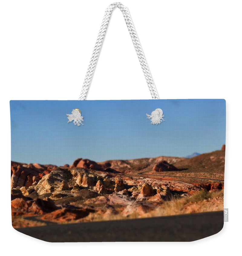 Valley Of Fire Winding Road Weekender Tote Bag featuring the photograph Valley Of Fire Winding Road by Chris Brannen