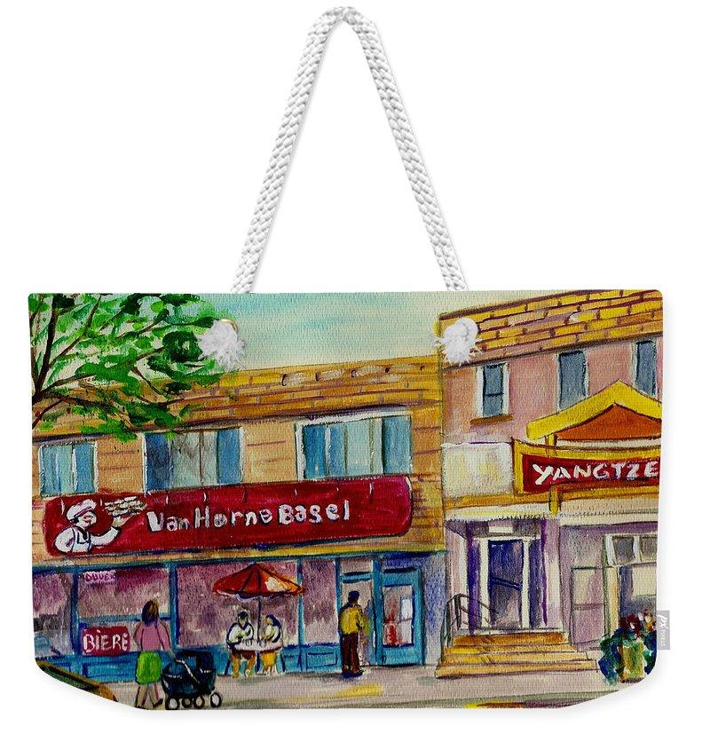 Weekender Tote Bag featuring the painting Van Horne Bagel And Yangtze Restaurant Sketch by Carole Spandau