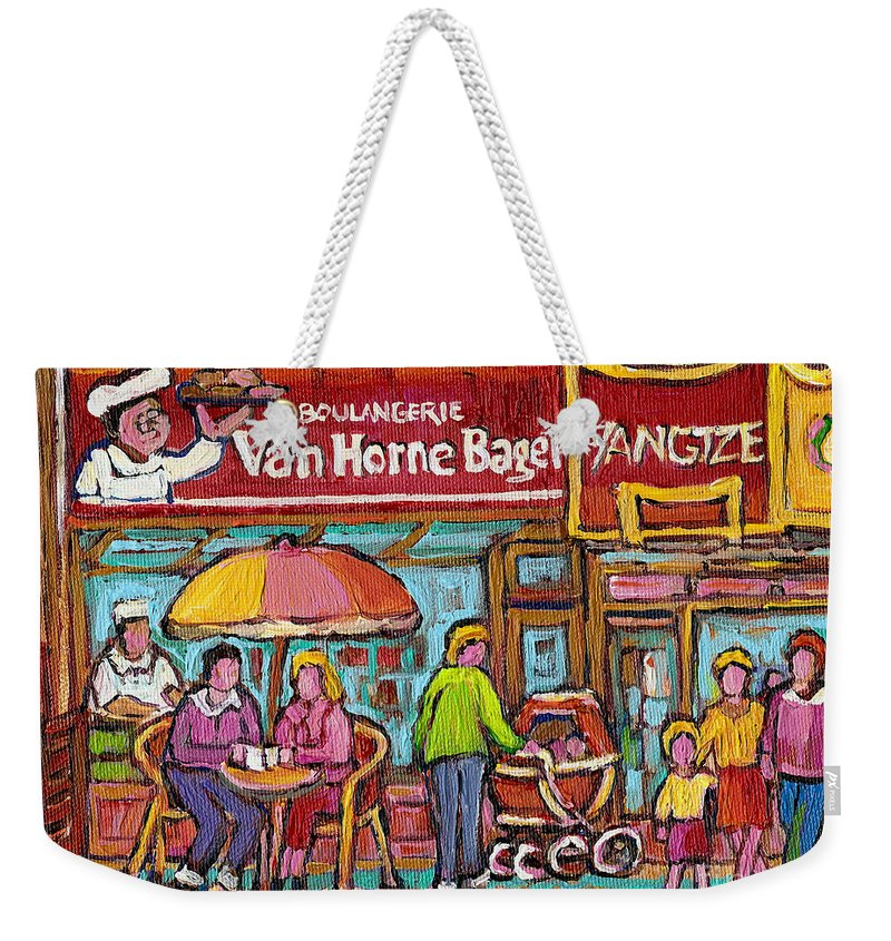 Van Horne Bagel Weekender Tote Bag featuring the painting Van Horne Bagel Next To Yangste Restaurant Montreal Streetscene by Carole Spandau