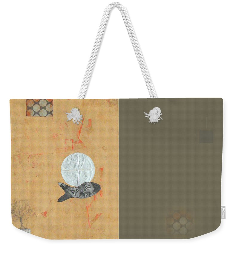 Contemporary Weekender Tote Bag featuring the mixed media Variations Wandering Fish by Kathleen Grace