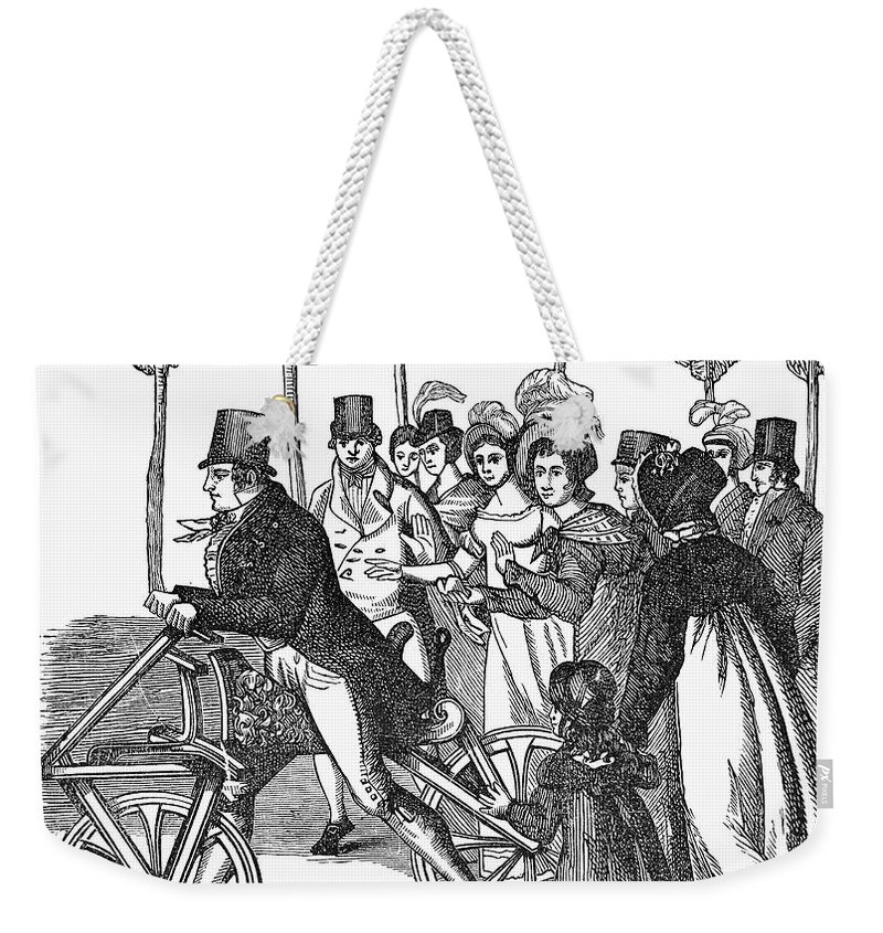 1827 Weekender Tote Bag featuring the photograph Velocipede, 1827 by Granger