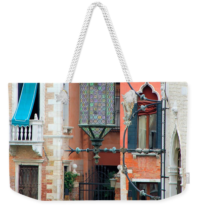 Venice Weekender Tote Bag featuring the photograph Venice Lamp by Andrew Fare