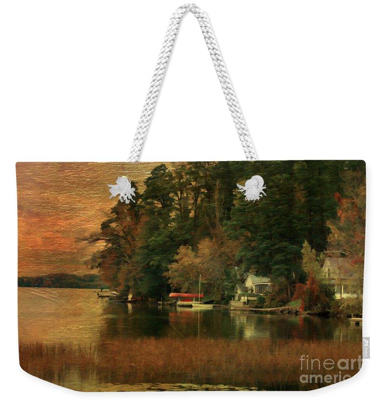 Autumn Weekender Tote Bag featuring the photograph Vermont Autumn Shoreline by Deborah Benoit