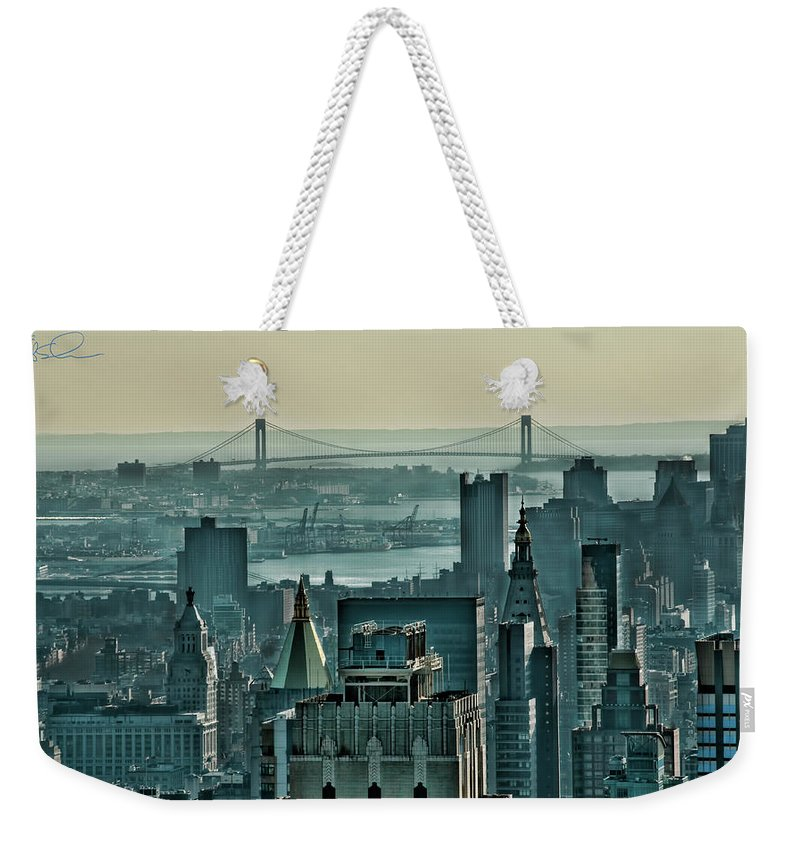 Verrazano Bridge Weekender Tote Bag featuring the photograph Verrazano From Manhattan by S Paul Sahm