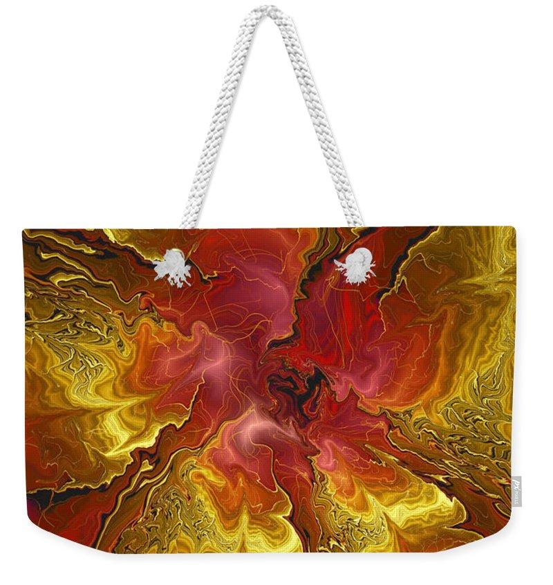 Digital Flower Weekender Tote Bag featuring the digital art Vibrant Red And Gold by Deborah Benoit