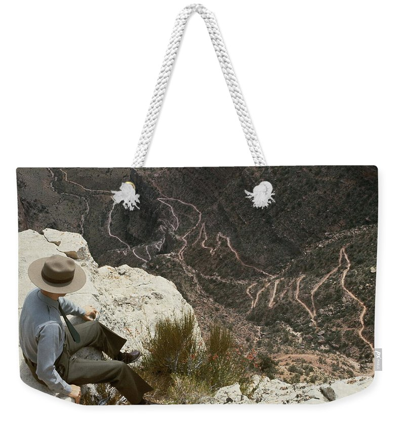 grand Canyon National Park Weekender Tote Bag featuring the photograph View Of Hiking Trails From High Above by Walter Meayers Edwards