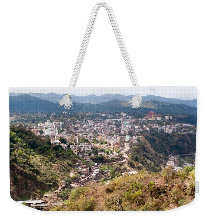 Katra Weekender Tote Bag featuring the photograph View Of Katra Township While On The Pilgrimage To The Vaishno Devi Shrine In Kashmir In India by Ashish Agarwal