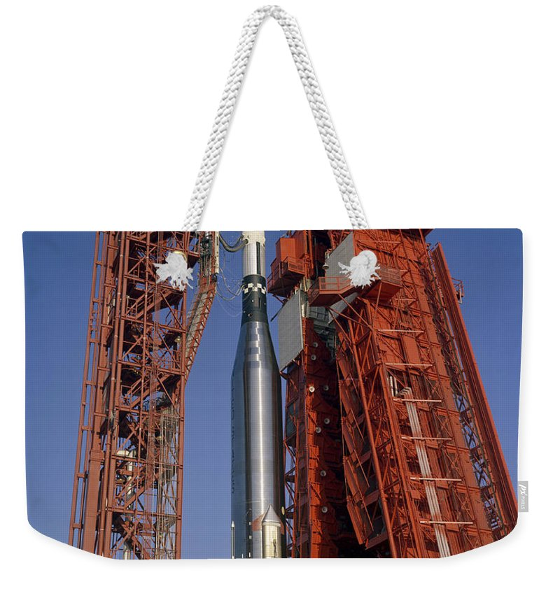 1965 Weekender Tote Bag featuring the photograph View Of Launch Pad 14 During Prelaunch by Stocktrek Images