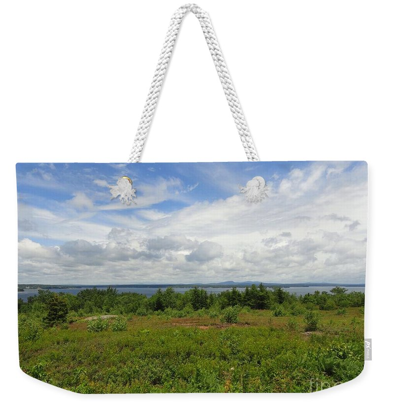 Blue Sky Weekender Tote Bag featuring the photograph View Of Maine Bay by Meandering Photography