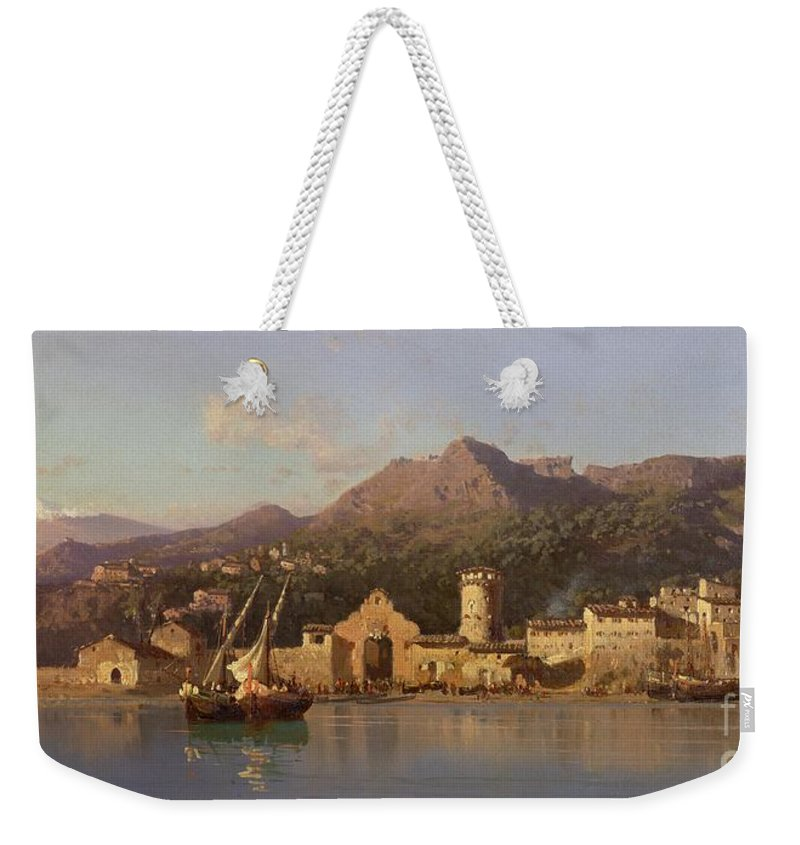 View Of Taormina Weekender Tote Bag featuring the painting View Of Taormina Sicily by Alessandro la Volpe