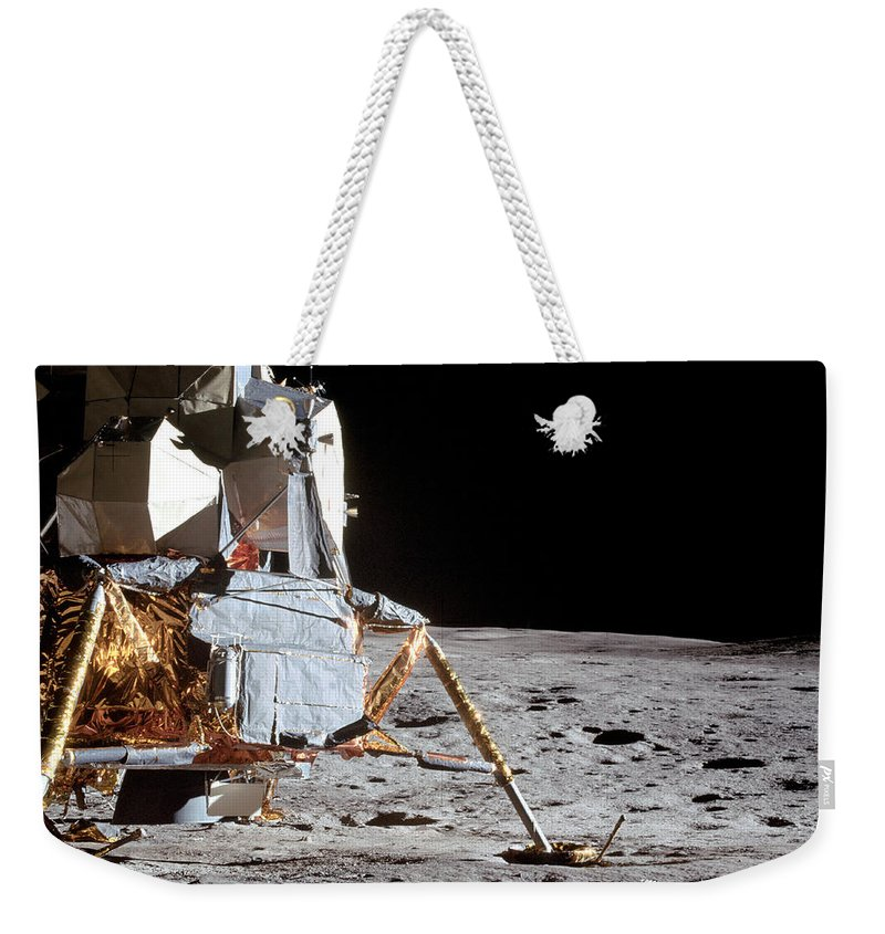 1971 Weekender Tote Bag featuring the photograph View Of The Apollo 14 Lunar Module by Stocktrek Images