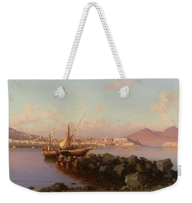View Of The Bay Of Naples Weekender Tote Bag featuring the painting View Of The Bay Of Naples by Alessandro la Volpe