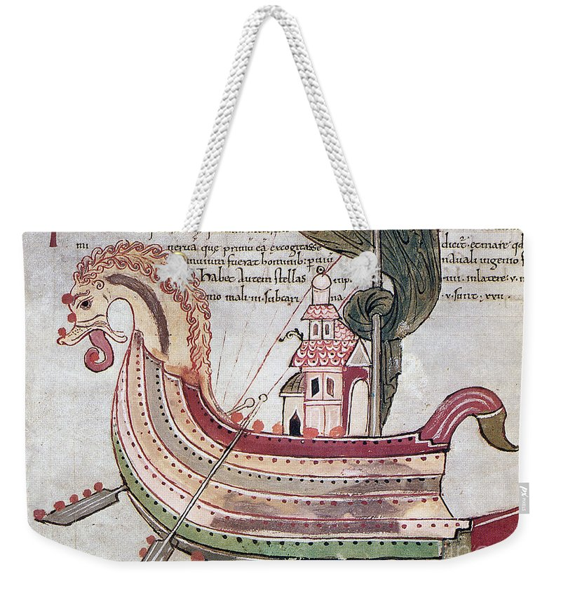 10th Century Weekender Tote Bag featuring the drawing Viking Ship - 10th Century by Granger