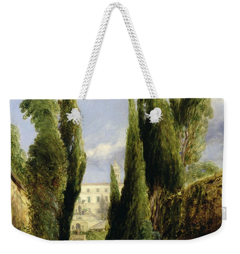 Italian Garden; Gardens; Renaissance Architecture; Staircase; Steps; Cypress Trees Weekender Tote Bag featuring the painting Villa D'este Tivoli by William Collins