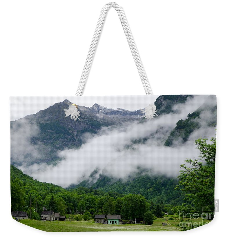 Village Weekender Tote Bag featuring the photograph Village In The Alps by Mats Silvan