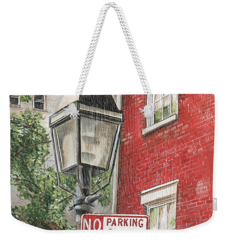 Nyc Weekender Tote Bag featuring the painting Village Lamplight by Debbie DeWitt