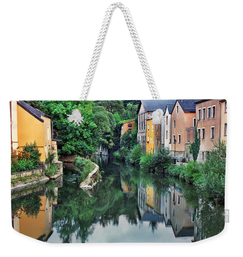 Luxembourg Weekender Tote Bag featuring the photograph Village Reflections In Luxembourg II by Greg Matchick