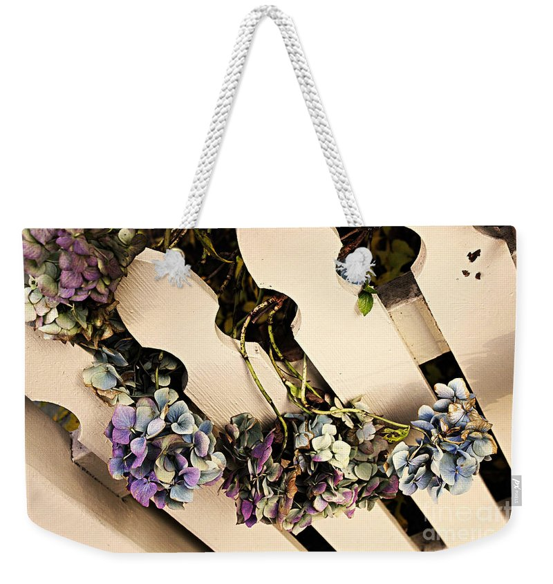 Hydrangea Weekender Tote Bag featuring the photograph Vintage Blues by Alanna DPhoto