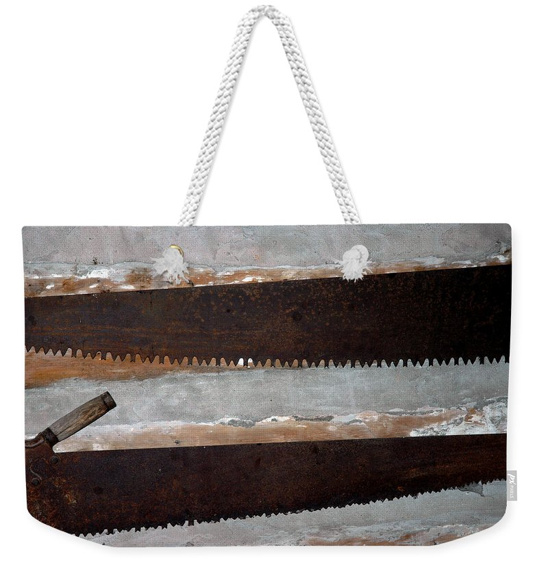 Usa Weekender Tote Bag featuring the photograph Vintage Crosscut Saws by  LeeAnn McLaneGoetz McLaneGoetzStudioLLCcom