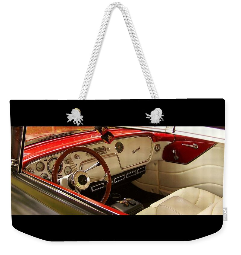 Vintage Packard Interior Weekender Tote Bag featuring the photograph Vintage Packard Interior by Christy Leigh
