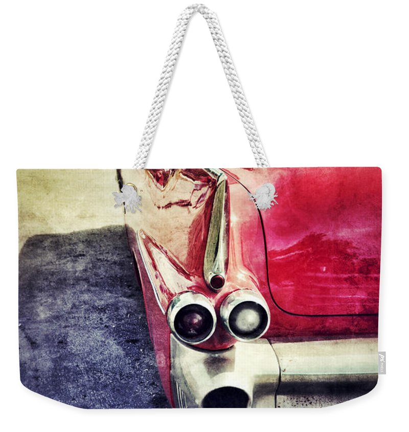 Car Weekender Tote Bag featuring the photograph Vintage Red Car by Jill Battaglia