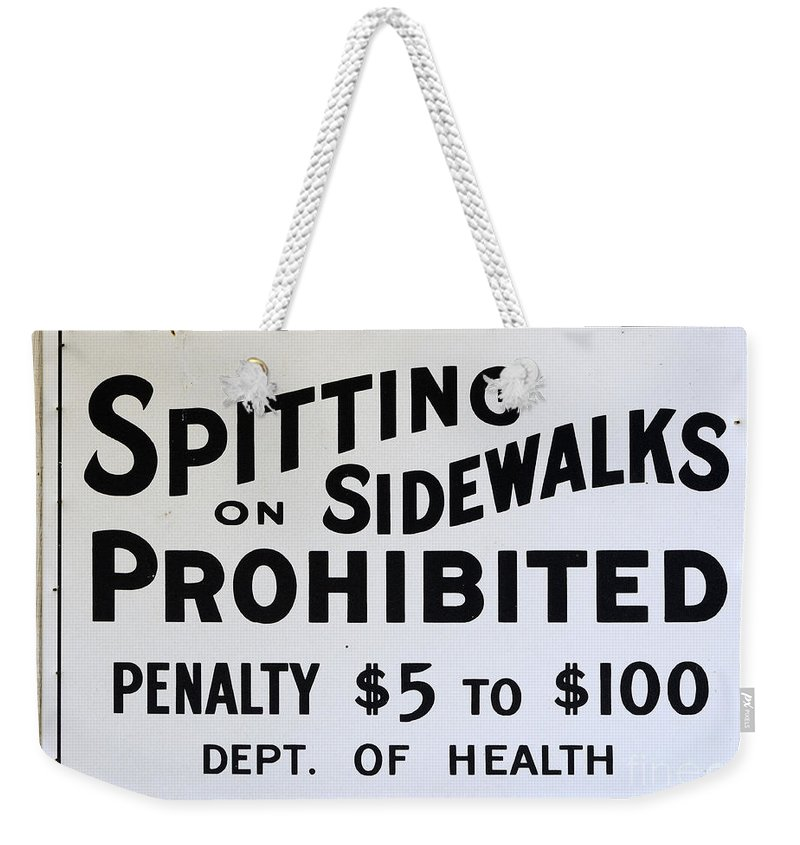 Vintage Signs Weekender Tote Bag featuring the photograph Vintage Sign For Spitter Haters by Bob Christopher